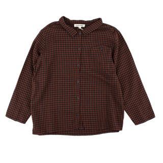 Caramel Cotton Dover Shirt in Orange Check