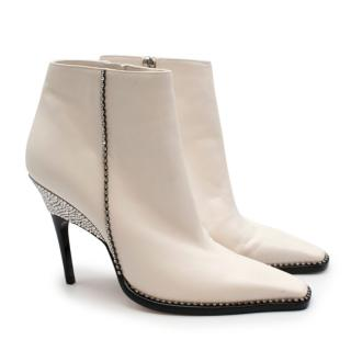 Jimmy Choo Latte Nappa Leather & Crystal Brecken 100 Ankle Boots