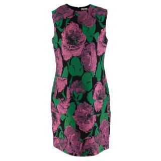Erdem Lowry Dress in Pink and Green Loren Rose Jacquard