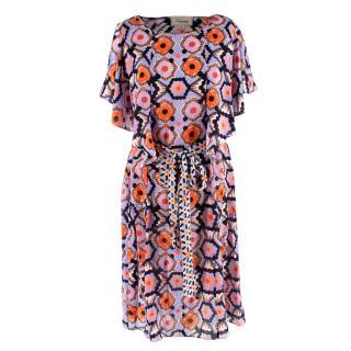 Temperley Crochet Print Ruffle Kaftan Dress