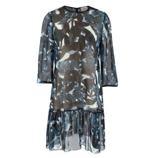 Erdem Sheer Blue Paulina Dress