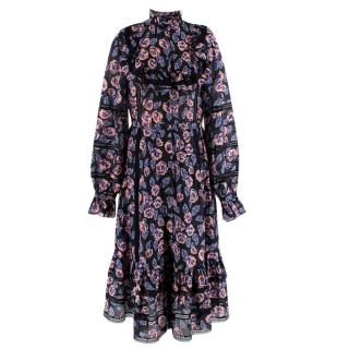 Temperley Rose-bud Print Dress with Black Lace Trim