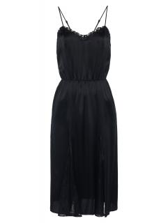 La Perla Nightgown in black silk with Leavers lace and sheer inserts