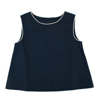 Caramel Navy Sleeveless Top with Contrast Trim