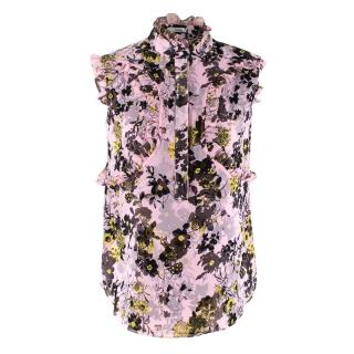 Erdem Seska Top in Pink Silk Viole