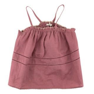 Caramel Dark Pink Ruched Top