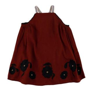 Caramel Ostrich Embroidered Baby Dress in Burnt Ochre