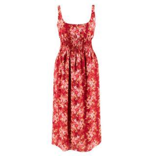 Emilia Wickstead Giovanna Burgundy Sunset Floral Dress