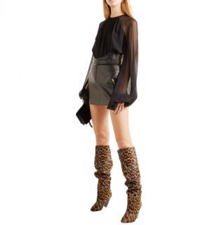 Saint Laurent Niki leopard-print knee-high calf-hair boots