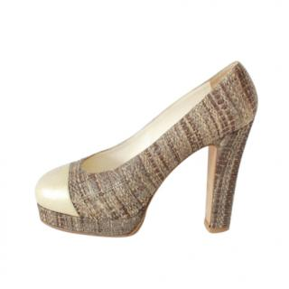 Chanel Tweed Effect Leather Cap-Toe Pumps
