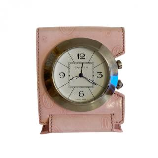 Cartier Pink Leather Pasha Travel Clock