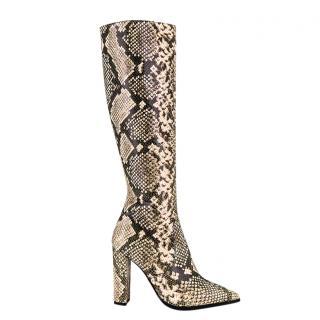 Tony Bianco Snakeskin Print Knee Boots