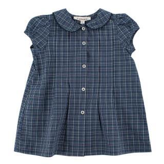 Caramel Hynacinth Baby Dress in Oxford Blue