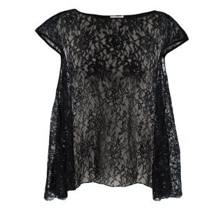 Erdem Greer Top in Metallic Black Lace