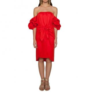 Johanna Ortiz Red Balloon Sleeve Ruched Dress