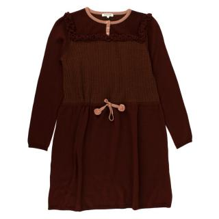 Caramel Burguny Knit Magpie Dress