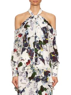 Erdem Aila Forget Me Not-print silk-crepe top