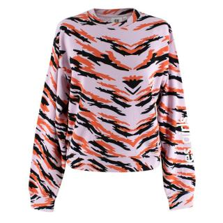 Les Girls Les Boy Slim Tiger Print Shrunken Sweatshirt