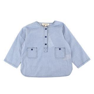 Caramel Deer Baby Sky Blue Check Woven shirt