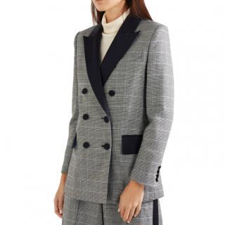 Racil Black Audrey satin-trimmed houndstooth wool blazer