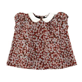 Caramel Maroon Floral Blouse with Contrast Collar