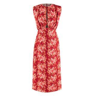 Emilia Wickstead Burgundy Floral Sleeveless Angy Dress