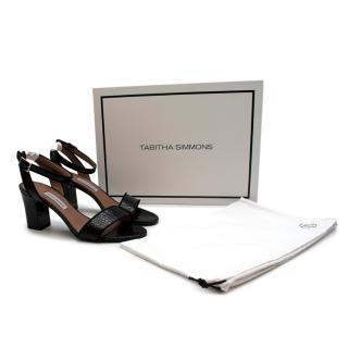 Goop X Tabitha Simmons Laticia Black Embossed Heeled Sandals