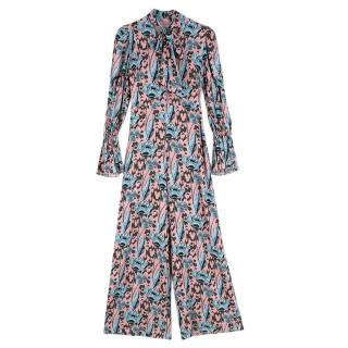 Temperley Camille Pink & Blue Pussybow Jumpsuit