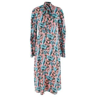 Temperley Camille Printed Sleeved Blue and Pink Dress