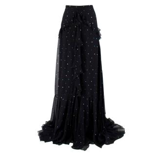 Erdem Black Silk Alison Ruffled Maxi Skirt