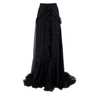 Erdem Black Silk Alison Ruffled Maxi Skirt