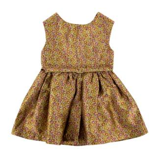 Caramel Gold Floral Skater Dress