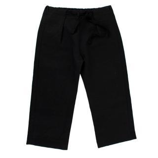 Caramel Black Linen Straight-Leg Trousers