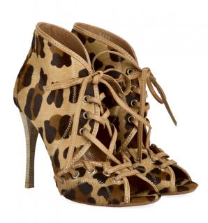 Alaia Leopard Print Calf Hair Ankle Boots