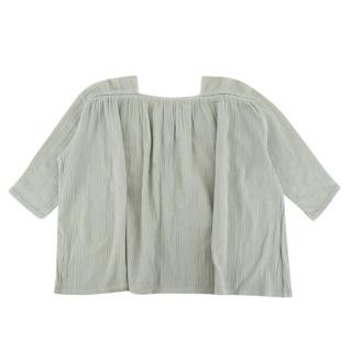 Caramel Faded Mint Green Blouse