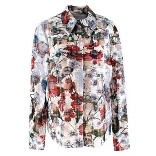 Erdem Sloane floral-print cotton-blend seersucker shirt
