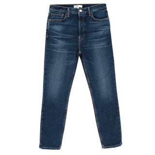 Goop Re/Done High Rise Ankle Crop Jeans - Midnight Blue