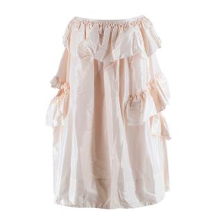 Simone Rocha Pink Fine Taffeta Frill Double Bite Skirt