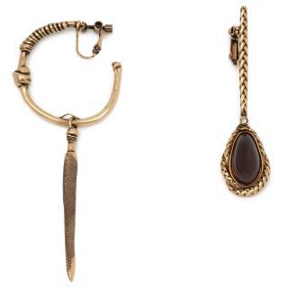 Alexander McQueen Gold and Garnet Coloured Asymmetric Earrings