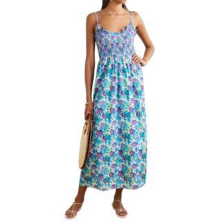 Loretta Caponi Bianca ruffled smocked floral-print dress