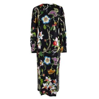 Olivia Von Halle Aureta Beatrice Floral-print Silk Midi Dress