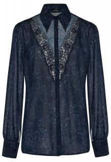 La Perla Blue Floral Print Pyjama Blouse with Lace Inserts