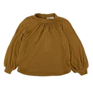Caramel Brown Balloon Sleeve Blouse