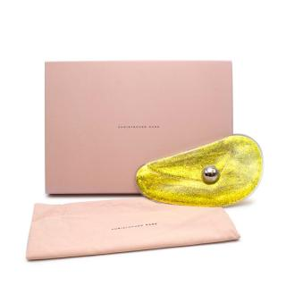 Christopher Kane Yellow glitter gel clutch with silver dome detail