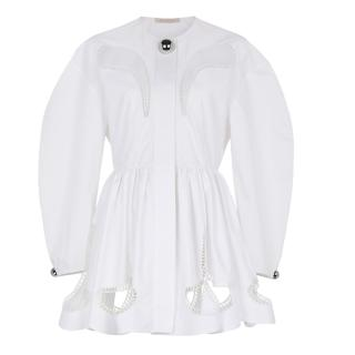 Christopher Kane White petal embroidered cotton dress