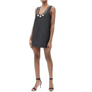 Christopher Kane Black mini dress with silver dome embellishments