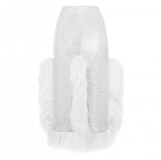 Christopher Kane Silver chainmail skirt white ostrich feather trims