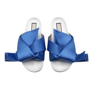 No.21 Azure Satin Bow Slides