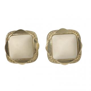 Givenchy Vintage Ecru Square Gold Plated Earrings