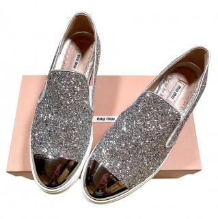 Miu Miu Glitter Metallic Slip-On Sneakers